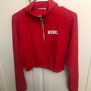 Red cropped athletic jacket